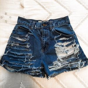 Vintage High Waisted Distressed Jean Shorts